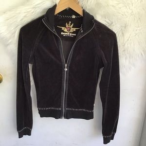 Twisted Heart Black Velvet Heart Zip Up Jacket
